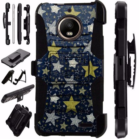 For Motorola Moto G6 Plus Case Armor Hybrid Silicone Cover Stand LuxGuard Holster (Night Stars)