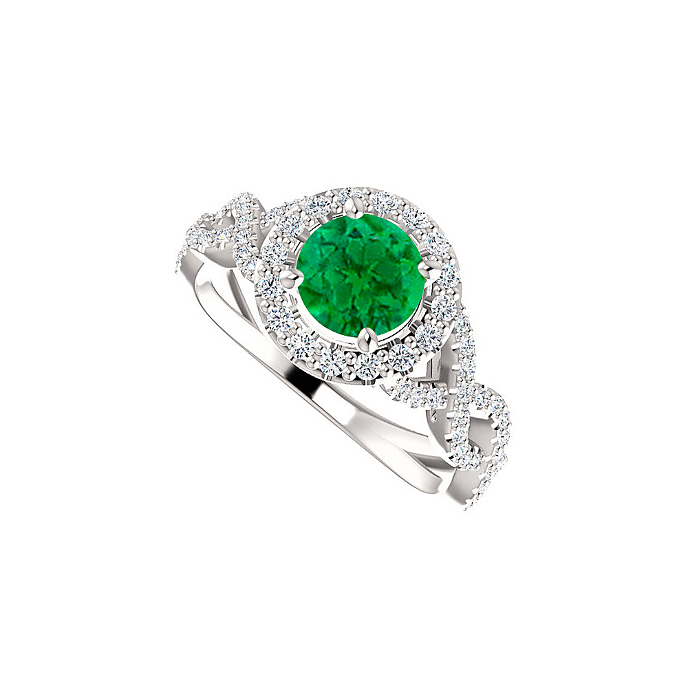 Emerald CZ Stylish Cross Over 925 Sterling Silver Ring - image 2 de 2