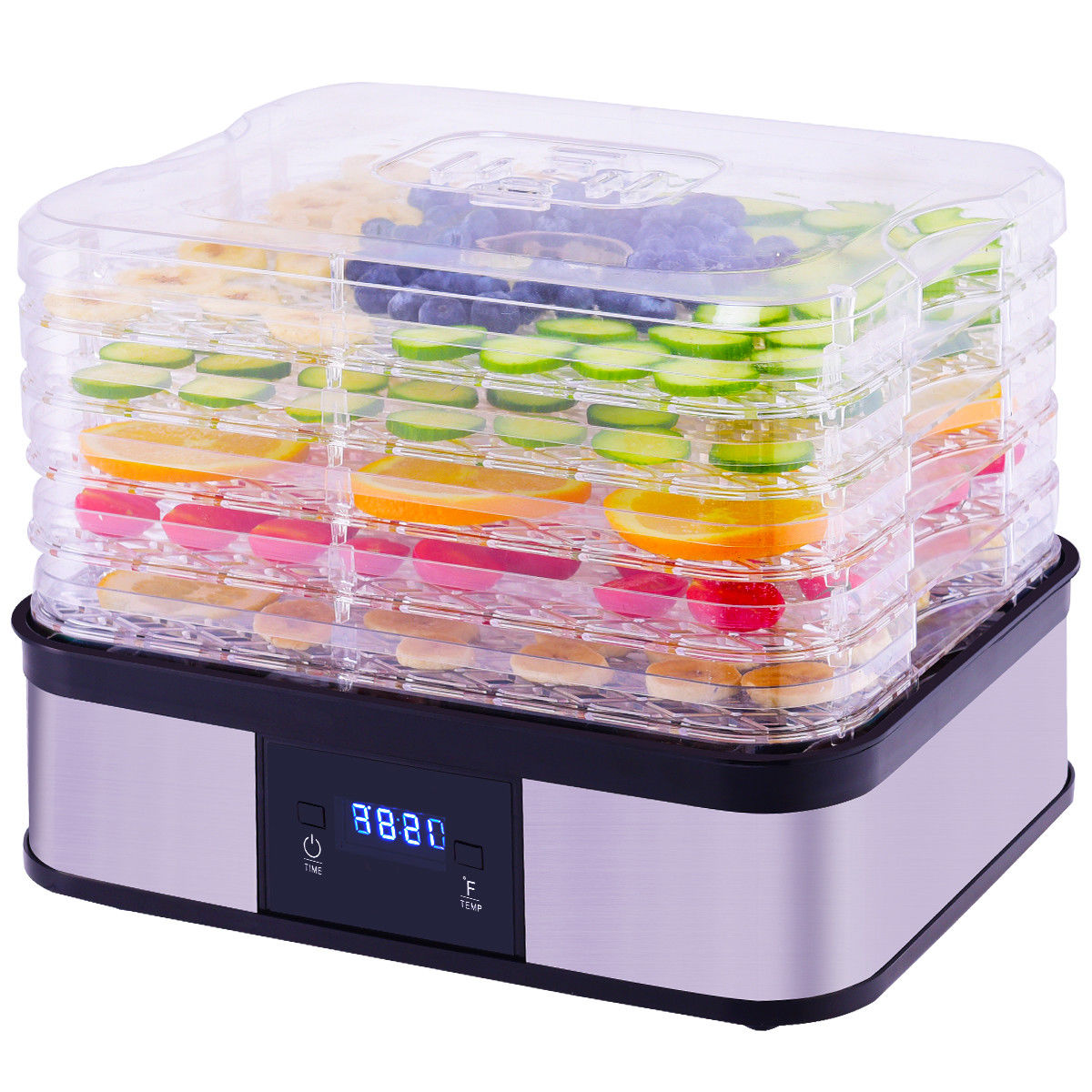 Costway Food Dehydrator Preserver 5 Tray Fruit Vegetable Dryer Timer Temperature Control