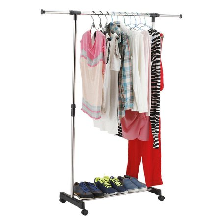 ktaxon portable rolling clothes rack hanging garment bar heavy hanger adjustable. Black Bedroom Furniture Sets. Home Design Ideas