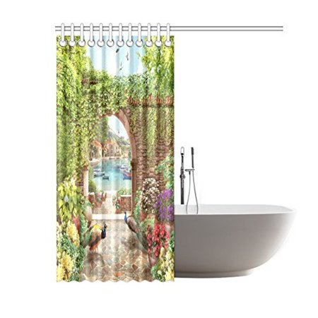 GCKG Summer Peacock Floral Shower Curtain Hooks 60x72 inches Colorful Green Fabric Stone Walkway to the Wea through the Arch with Peacocks Summer Flowers - image 3 de 3
