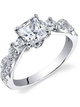 1.07 ct Princess Cut Cubic Zirconia Pave Ring in Sterling Silver