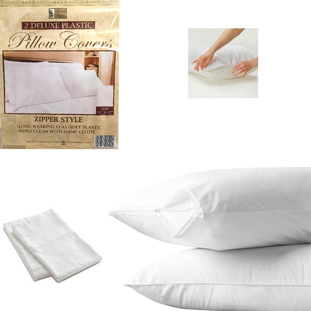 "2 White Hotel Pillow Plastic Cover Case Waterproof Zipper Protector Bed 21""X27"""