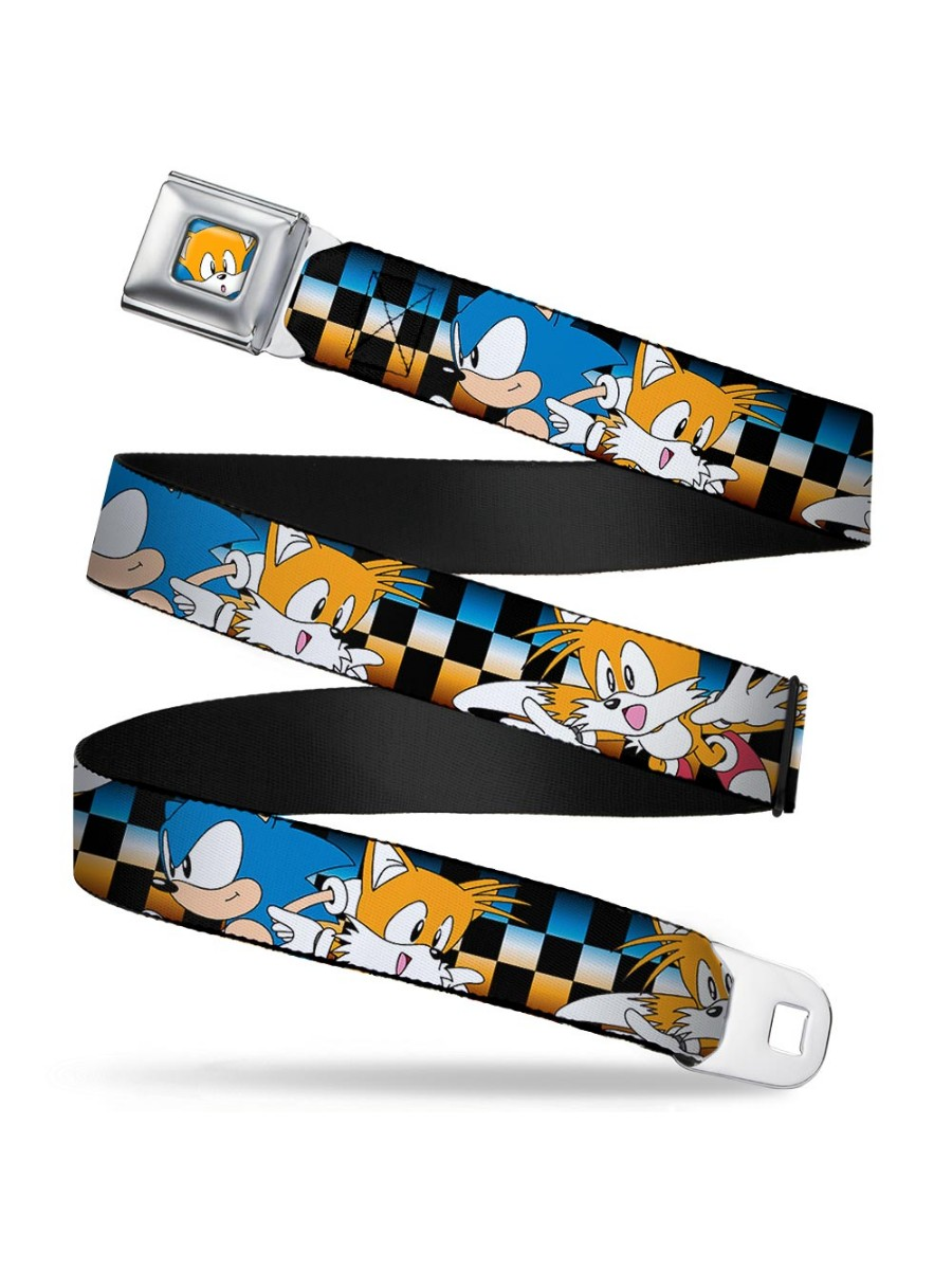 SONIC CLASSIC Seatbelt Belt - Sonic & Tails Poses Checker