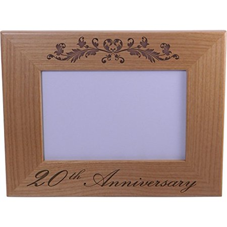 20th Anniversary - 4x6 Inch Wood Picture Frame - Great Anniversary ...