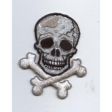 Silver  Shimmery - Jolly Roger  -Skull/Crossbones - Iron on Applique/Embroidered Patch