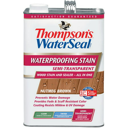Thompsons WaterSeal Waterproofer Plus Semi-Transparent Wood Stain, Nutmeg Brown, 1-Gal