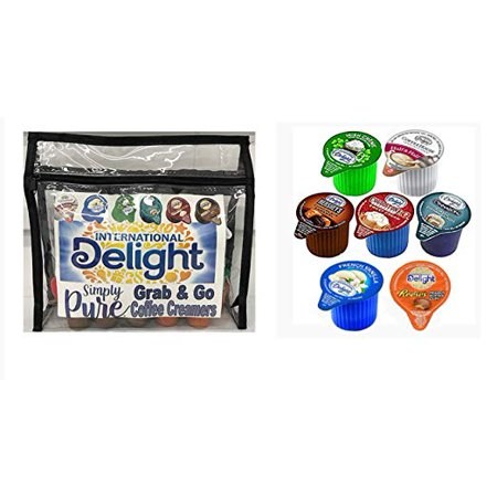 International Delight Grab and Go Coffee Creamers in Reusable Travel Bag | 7 Popular Single Serve Flavors with Refill | Reese's Peanut Butter Cup, Hershey's Chocolate Caramel | 84 Total Creamers