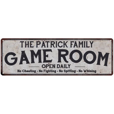 THE PATRICK FAMILY Personalized Game Room Country Metal 8x24 Sign 108240042726](Patrick Games)