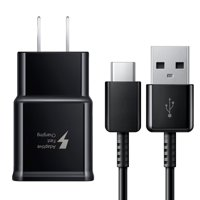 Samsung Galaxy S8, S8+, S9, S9+, S10, Note 8, Note 9 Adaptive Fast Charger USB-C 3.1 Type-C Cable Kit Fast Charging USB Wall Charger AC Home Power Adapter [1 Wall Charger + 4 FT Type-C Cable], Black