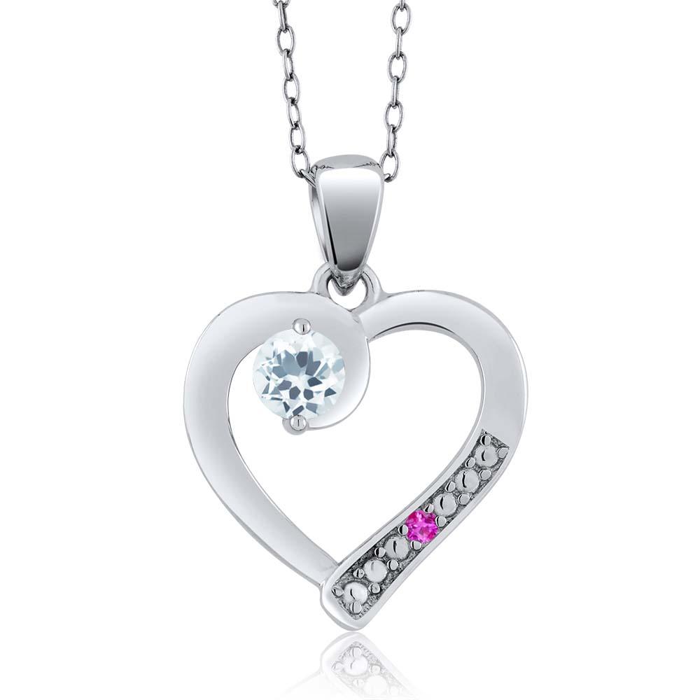 0.24 Ct Round Sky Blue Aquamarine Pink Sapphire 14K White Gold Pendant by