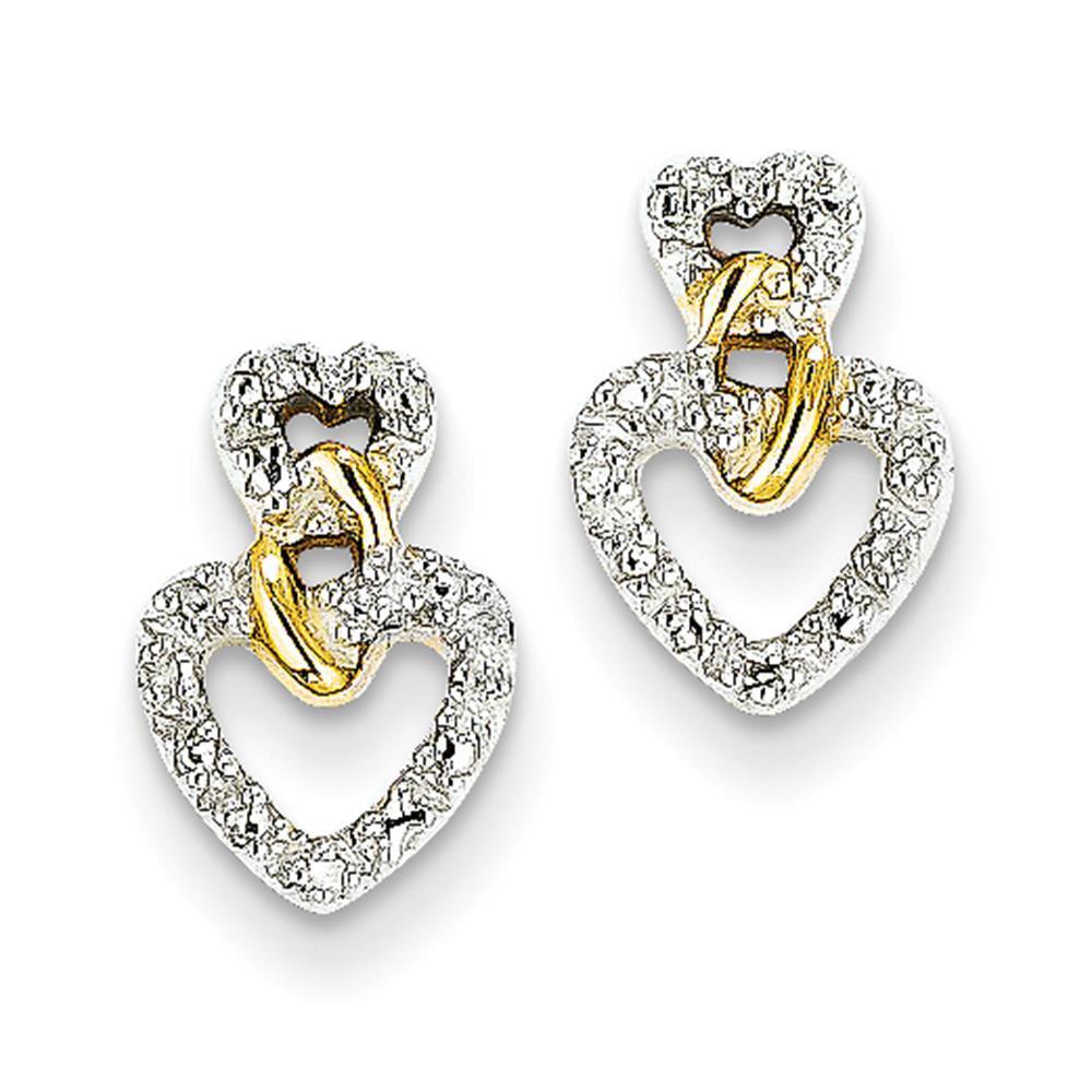 Designer 14k Yellow Gold Polished Diamond Double Heart Post Earrings 12mm x 8mm