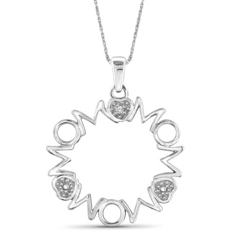 JewelersClub White Diamond Accent Sterling Silver MOM Circle Pendant