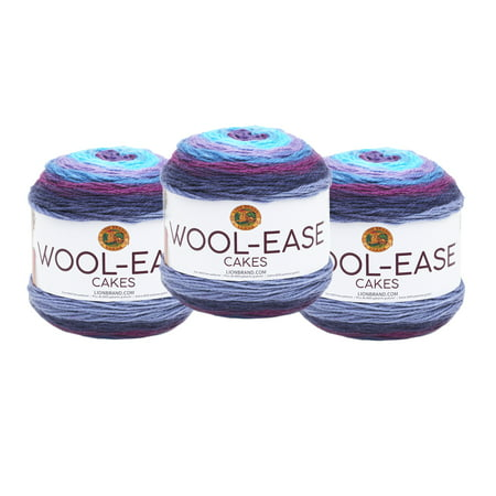 Lion Wool Ease Chunky Yarn (Lion Brand Mandala Wool Ease Cakes Hades 3 Pack Wool Cake Yarn )