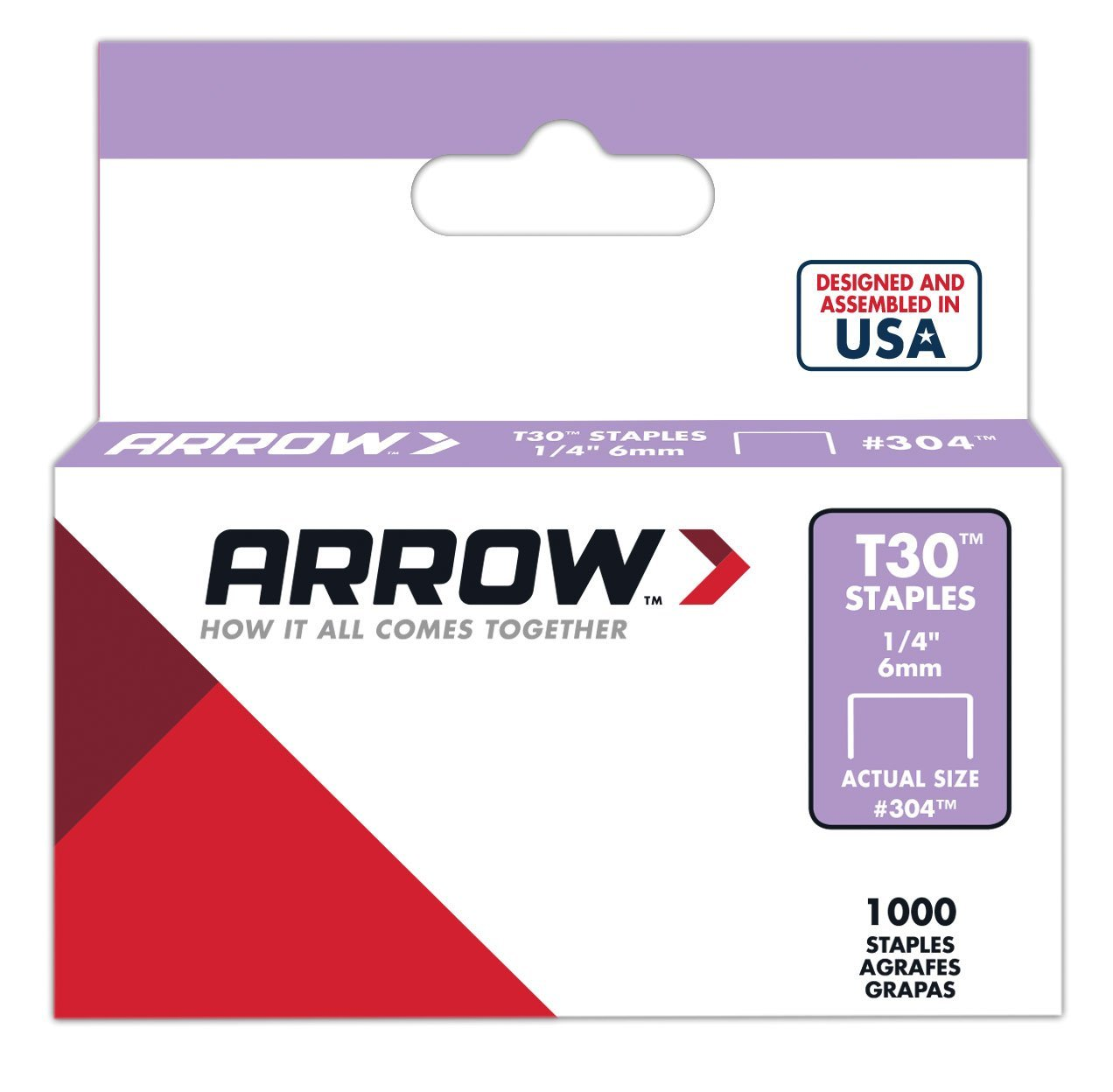 304 Genuine 1 4-Inch Thin Wire Staples for T30 Staple Gun, HT30 hammer tacker, 1,000-Pack By ARROW FASTENER by