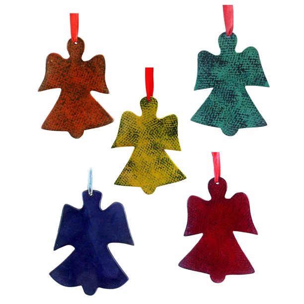 Handcrafted Slice Angel Ornament Hanging Figurine Art By The Tribesmen Of Kenya The Ornament Is Smooth Elegant Cool And Soothing Soapstone Painted By Kisii Artisan Set Of 5 Walmart Com Walmart Com