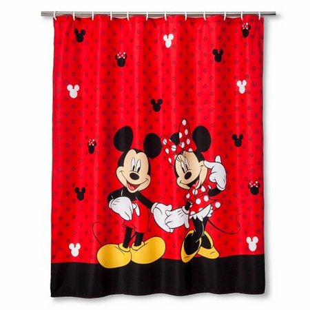 Disney Mickey Mouse Minnie Fabric Shower Curtain Kids Red Bath Decor