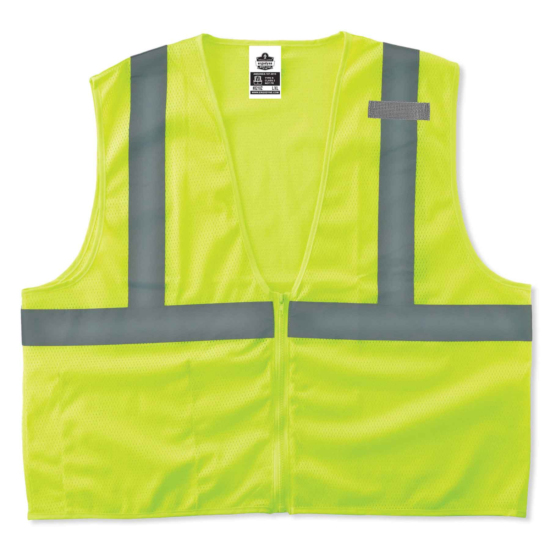 GloWear 8210Z ANSI Economy High Visibility Lime Reflective Safety Vest, Zipper Closure, Large/X-Large