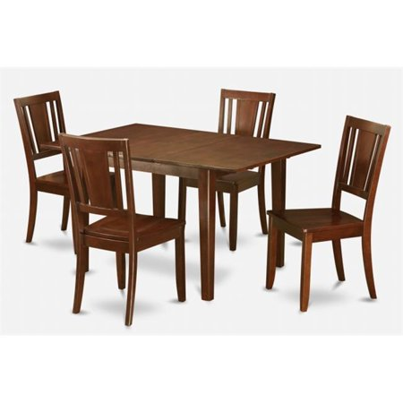 East West Furniture MLDU5-MAH-W Milan 5PC Set with Rectangular Table featured 12 in butterfly leaf and 4 Dudley Wood seat chairs