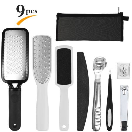 - 8 in 1 Pedicure Kit, PRETTY SEE foot file callus remover for Removing Hard Skins and Cracked Skin Corns, Feet Exfoliating Scrubber Cleaner File 9 Pcs/Set