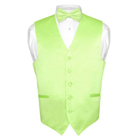 Men's Dress Vest & BowTie Solid LIME GREEN Color Bow Tie Set for Suit or Tuxedo - Lime Green Zoot Suit