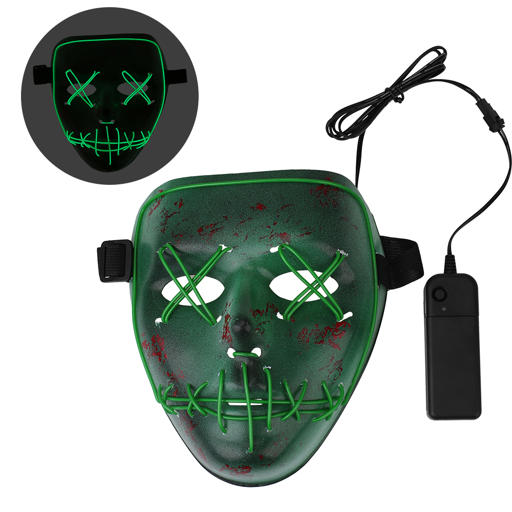 Halloween Frightening Scary Wire Cosplay LED Light up Mask, Green