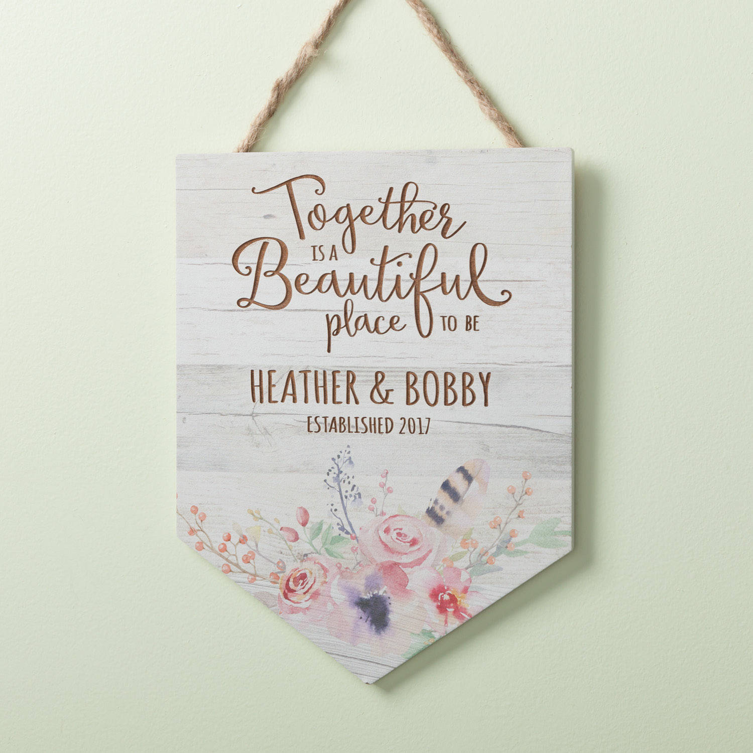 Together Is A Beautiful Place To Be Personalized Hanging Sign