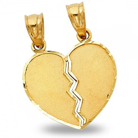 (Breakable Heart Pendant Solid 14k Yellow Gold His & Hers Love Charm Two Piece Diamond Cut 17 x 15 mm)