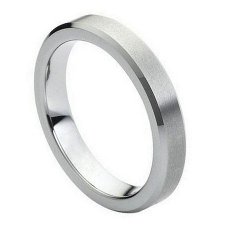 TK Rings 151TR-4mmx10.5 4 mm Flat Brushed Center High Polish Beveled Edge Tungsten Ring - Size 10.5 - image 1 of 1