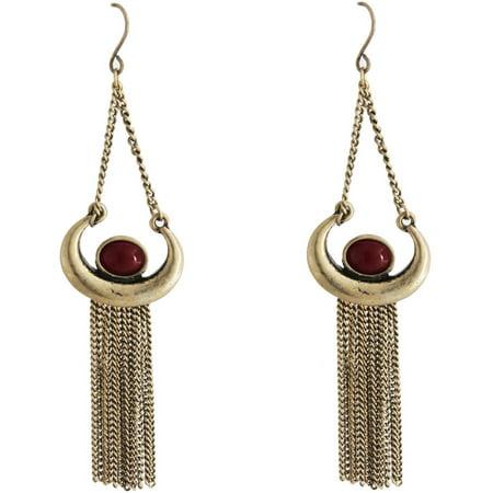 Gold-Tone Burgundy Fringe Earrings