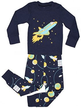 "Elowel Little Boys ""Space Rocket"" 2 Piece Pajama Set 100% Cotton - Size 7"