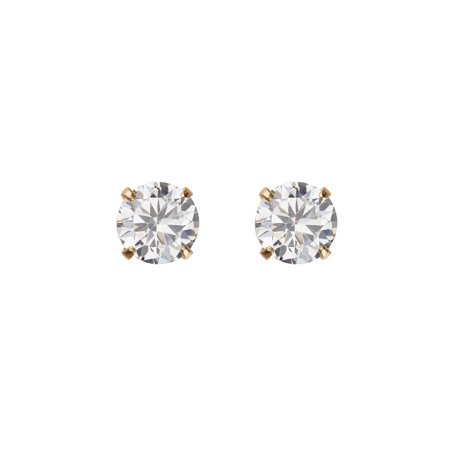 Kids' 10K Yellow Gold 4mm CZ/4mm Ball Stud Earrings](Kid Earrings)