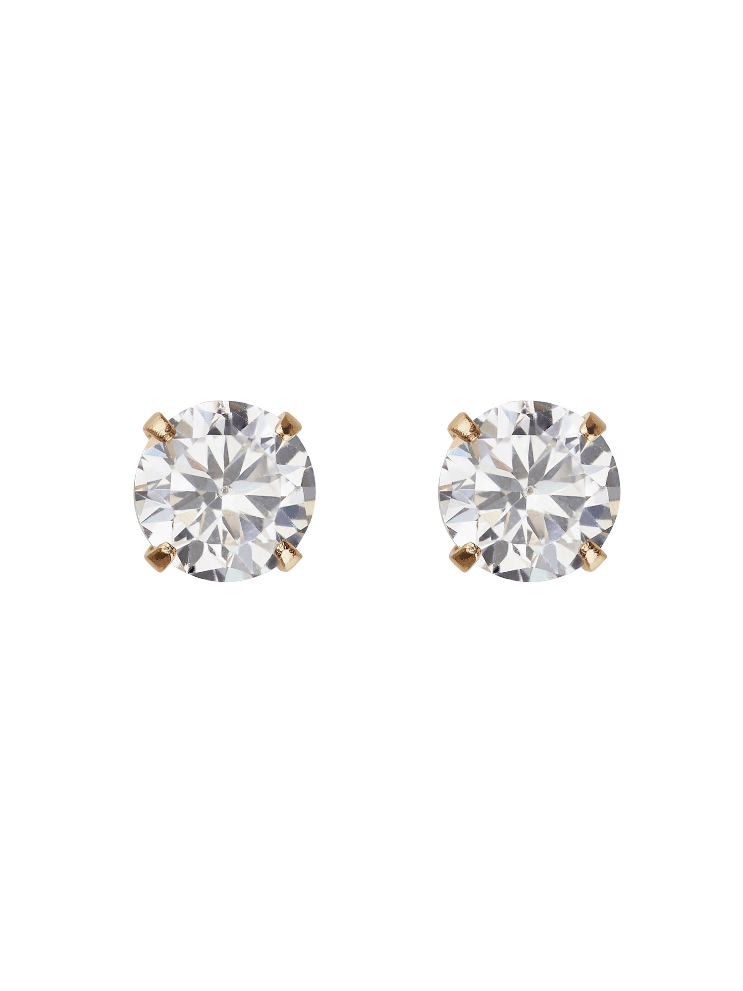 Kids' 10K Yellow Gold 4mm CZ/4mm Ball Stud Earrings