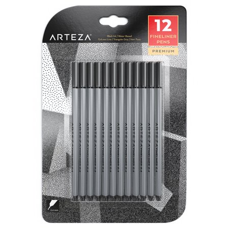 Arteza Fineliner Pens 12 - Black Colors (0.4 mm Tips, Set of 12)