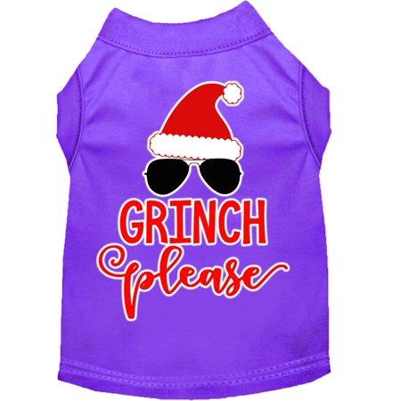 Grinch Please Screen Print Dog Shirt Purple XL (16)