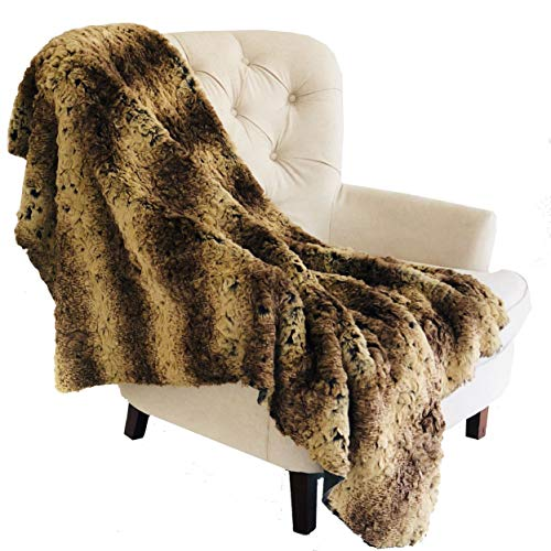 Plutus Brands  Beige and Brown Chinchilla Faux Fur Luxury Throw
