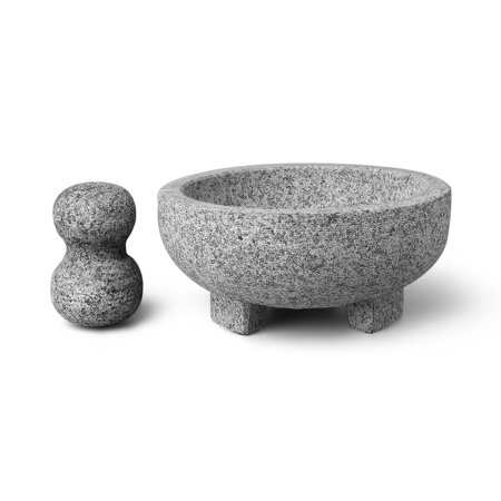 Granite Mortar and Pestle Set - Solid Granite Stone Grinder Bowl Holder 7.9 Inch For Guacamole, Herbs, Spices, Garlic, Kitchen, Cooking,