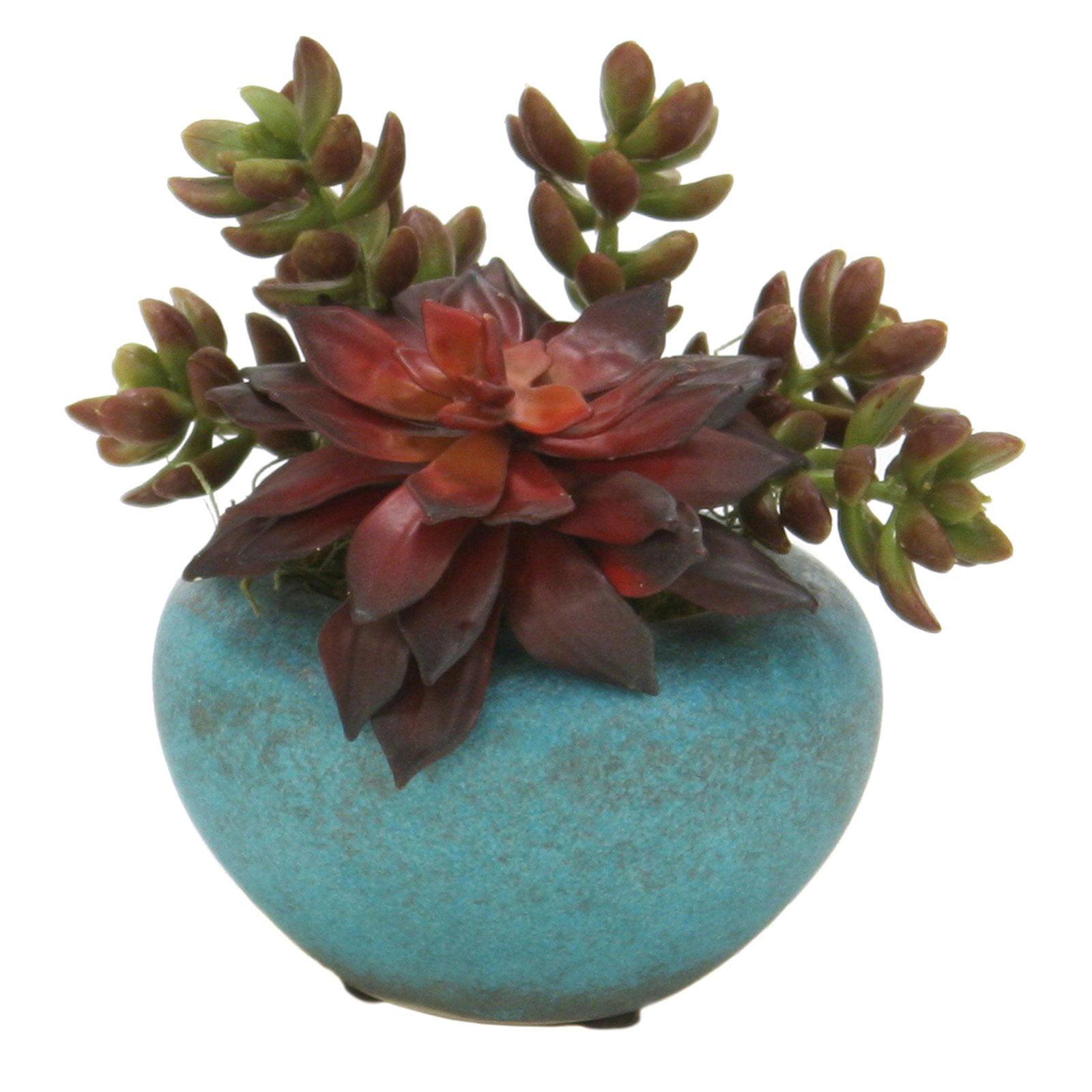 Distinctive Designs Mixed Succulents Silk Plant in Pots - Set of 3