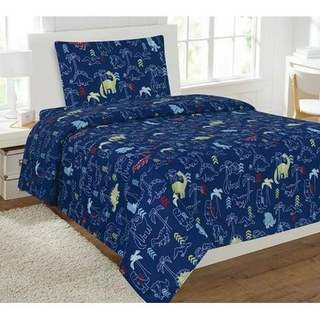 Fancy Linen Boys 3 Pc Sheet Set Dinosaur Navy Blue Twin Size (Navy Blue Linen)
