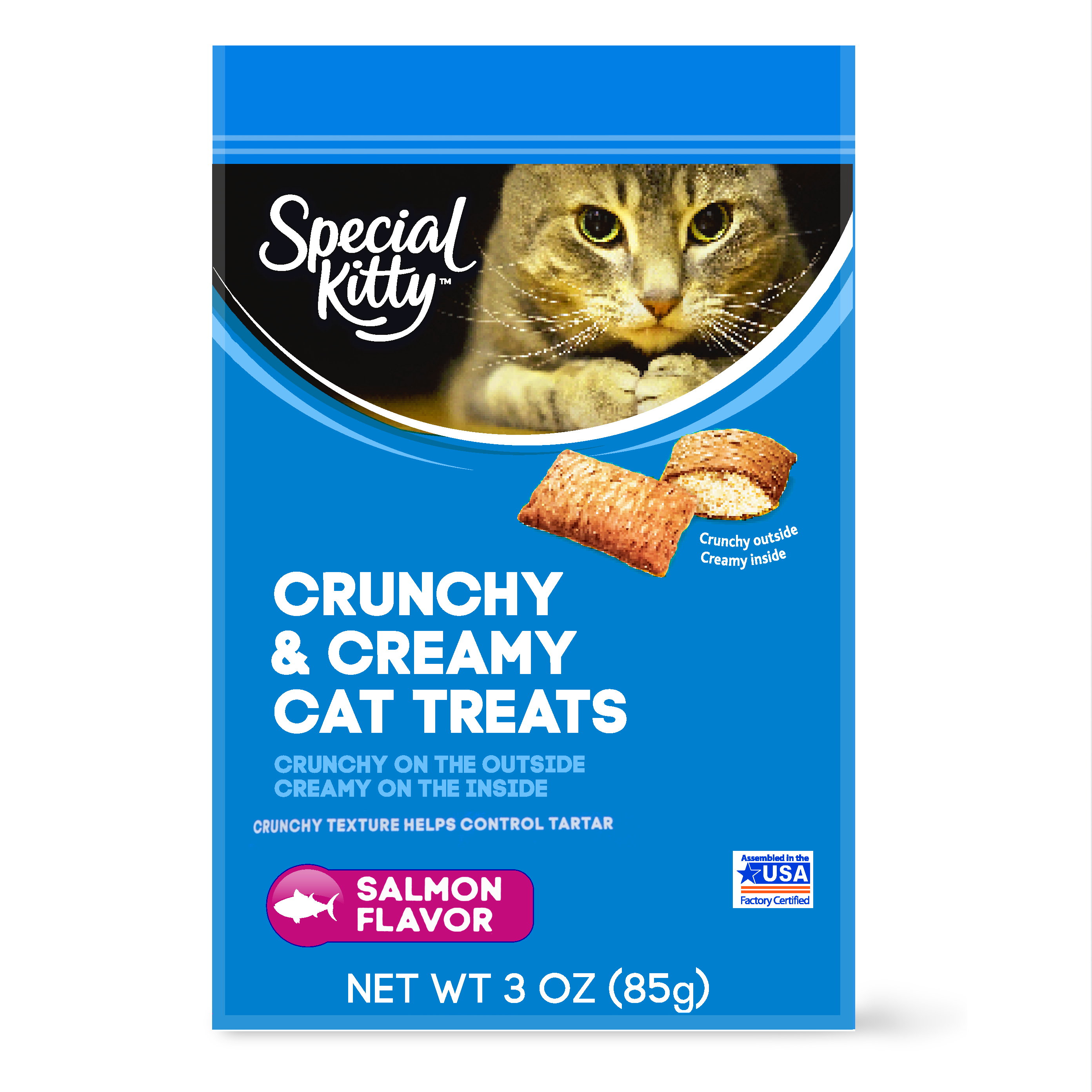 (6 pack) Special Kitty Crunchy & Creamy Cat Treats, Salmon Flavor, 3 oz