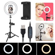 """Selfie LED Ring Light 10"""" with Tripod Stand & Phone Holder, TSV for Live Stream/Makeup Video or YouTube, Desktop Ring Light Compatible with iPhone Android Phone with 3 Light Modes & 10 Brightening"""