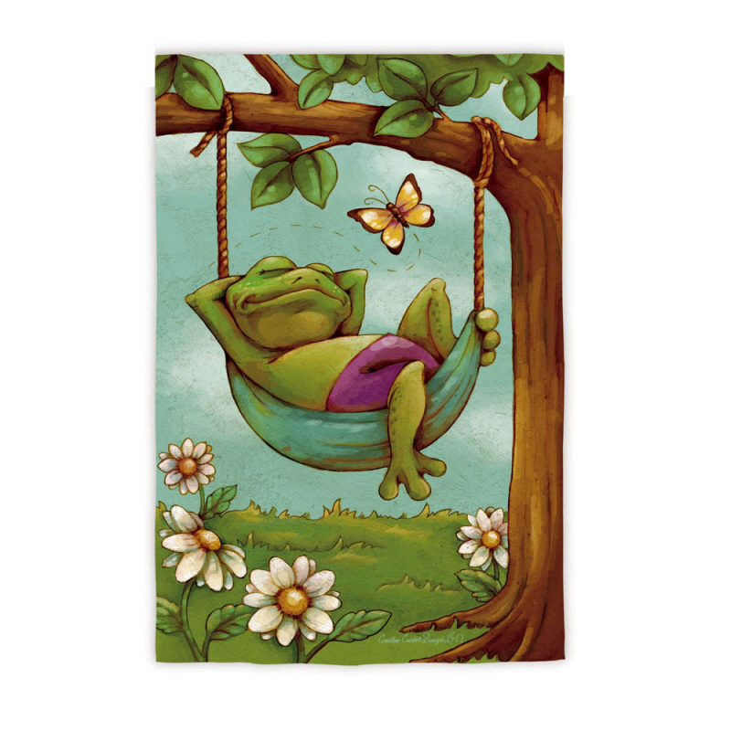 Garden Size Silk Reflections Flag, Day Dreamers Frog, 12.5x18 Inches