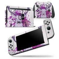 Purple Deer Runner DreamCatcher - Skin Wrap Decal Compatible with the Nintendo Switch Console + Dock + JoyCons Bundle