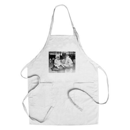 Walter Johnson Pitcher Holding Child Baseball Photograph (Cotton/Polyester Chef's Apron) (Baseball Pitcher Photos)
