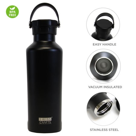 Swiss Crafts 20 oz Double Wall Vacuum Insulated Stainless Steel Travel Tumbler with BPA Free, Sports Water Bottle(Black)