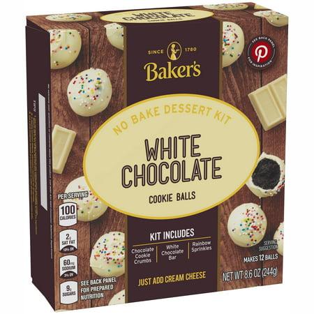 (2 Pack) Baker's White Chocolate Cookie Balls No Bake Dessert Kit, 8.6 oz Box