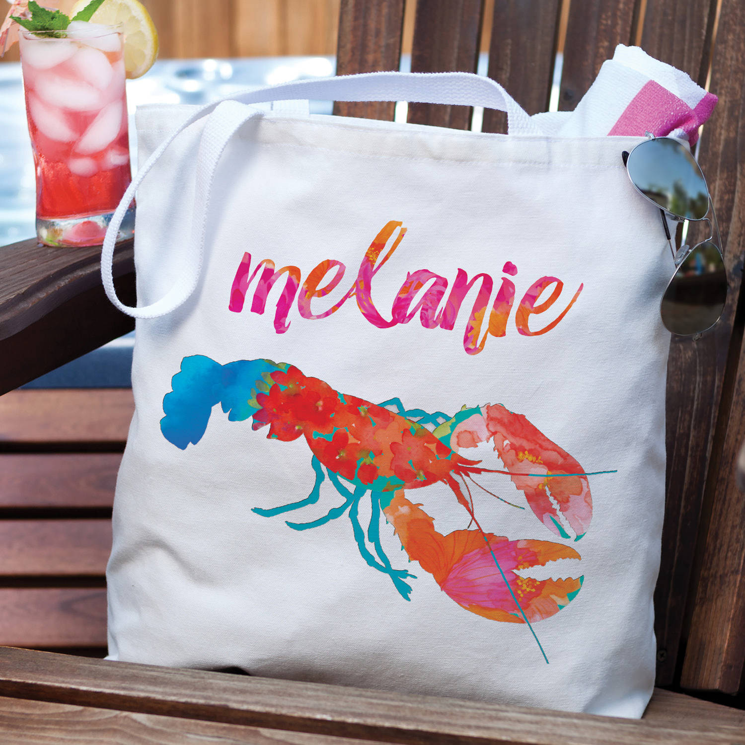 Floral Lobster Personalized Tote Bag