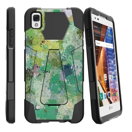 LG Volt 3, LG Tribute HD, LG X Style Shock Fusion Heavy Duty Dual Layer Kickstand Case -  Enveloping Green
