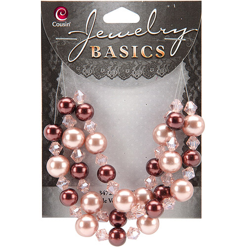 Cousin Jewelry Basics Pearl and Crystal Bead Mix Round, 8mm to 10mm, 51pk