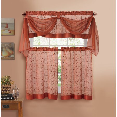 Cinnamon Embroidered Kitchen Window Curtain Set- 1 Valance with Voile Scarf, 2 Tiers ()